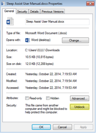 How to Unblock a File Downloaded from an Email or the